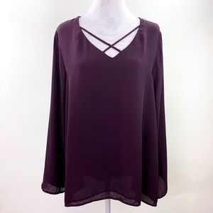 Apt 9 Flowing Sheer Plum Tunic Blouse Pullover XL